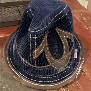 Distressed True Religion Corduroy and leather hat